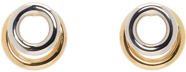 Alexander WangAlexander Wang Silver & Gold Double Ring Earrings