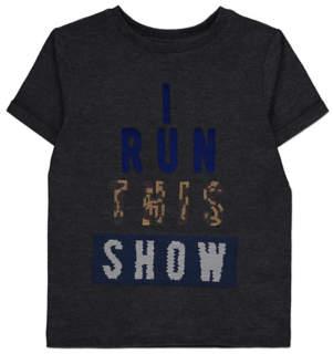 George Charcoal Swipe Sequin Slogan T-Shirt