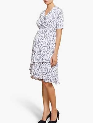Isabella Oliver Lullah Floral Wrap Over Maternity Dress, White/Blue