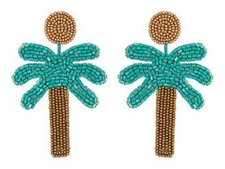 Kenneth Jay Lane 3 Gold Top/Green Seedbead Palm Tree Post Earrings