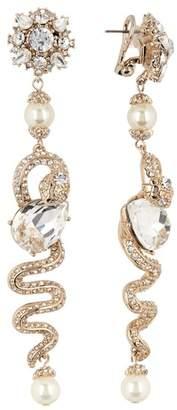 Marchesa Imitation Pearl & Crystal Linear Snake Drop Earrings