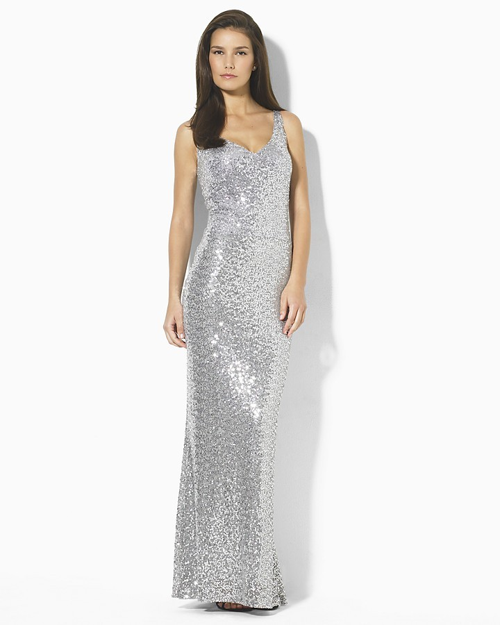 Lauren by Ralph Lauren Dress Sequined V-Neck Gown