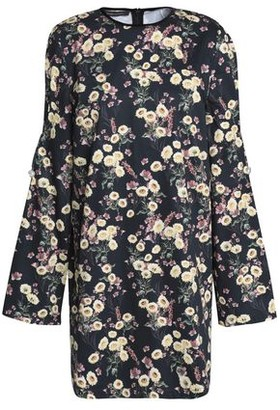 Mother of Pearl Velvet-trimmed Floral-print Cotton Mini Dress