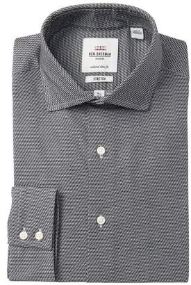 Ben Sherman Diagonal Stripes Stretch Tailored Slim Fit Dress Shirt