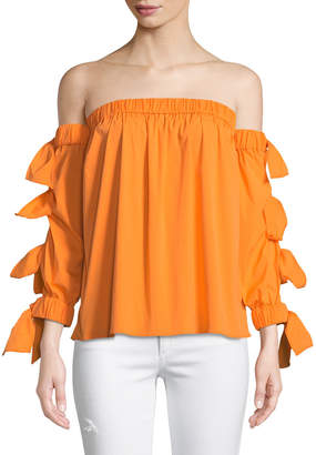 Milly Blythe Off-The-Shoulder Tie-Sleeve Blouse, Orange