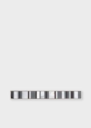 Paul Smith Men's Black Stripe Mother-Of-Pearl Tie Clip