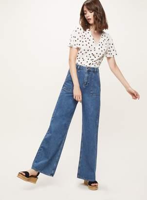 Miss Selfridge WIDE LEG Blue Denim Jeans