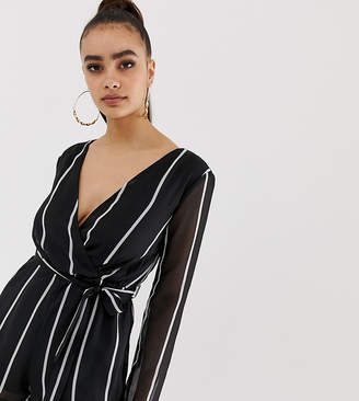 31fee88737 Missguided tie waist plunge playsuit in mono stripe