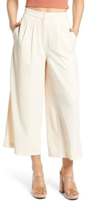 J.o.a. Chriselle x Pleat High Waist Crop Wide Leg Pants