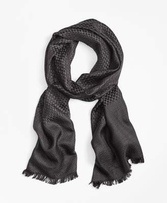Brooks Brothers Checkerboard-Weave Silk-Wool Oversized Square Scarf