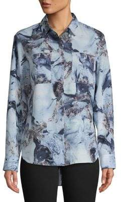 Jones New York Printed Button-Down Blouse