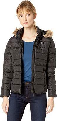 U.S. Polo Assn. Women's Puffer Jacket with Faux Fur Hood
