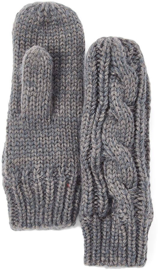 Gray Cable Knit Mittens