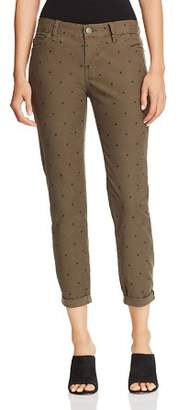 Current/Elliott The Easy Stiletto Cuffed Skinny Jeans in Rural Green Polka Dot