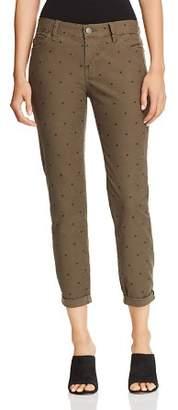Current/Elliott The Easy Stiletto Cuffed Skinny Jeans in Rural Green Polka Dot