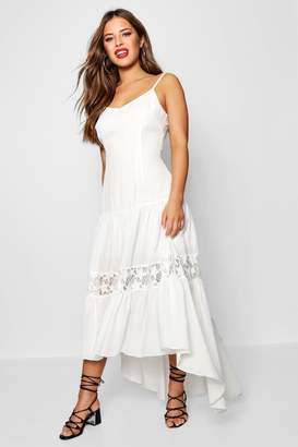 boohoo Petite Lace Panel Drop Waist Maxi Dress