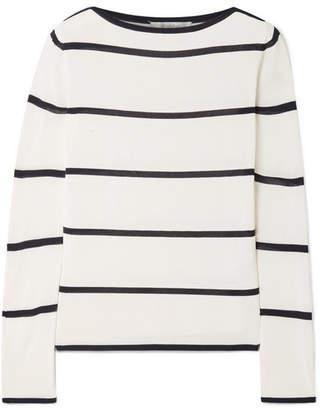 Max Mara Striped Stretch-knit Sweater - White