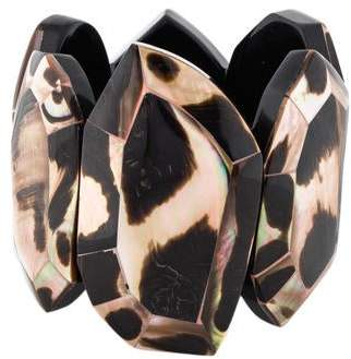 Viktoria Hayman Faceted Mother of Pearl Stretch Bracelet
