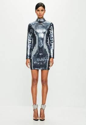 Missguided Black High Neck Embelished Mini Dress