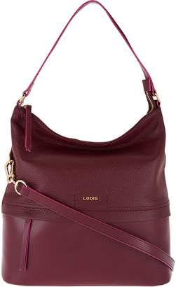 Lodis Smooth & Pebble Italian Leather Hobo with RFID - Sunny
