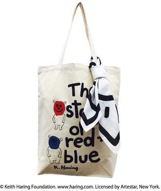 Keith Haring キースヘリング 【 キースヘリング】Story of Red and Blue バンダナ付きトートバッグ