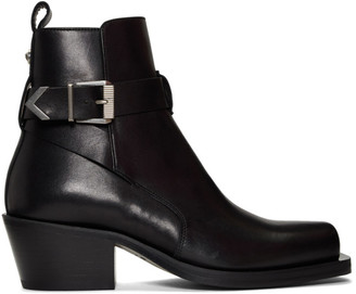 Versace Black Buckle Ankle Boots