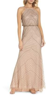 Adrianna Papell Beaded Halter Gown (Regular & Petite)