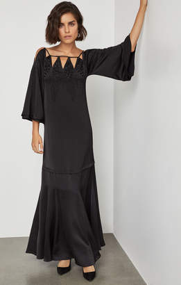 BCBGMAXAZRIA Embroidered Cutout Gown