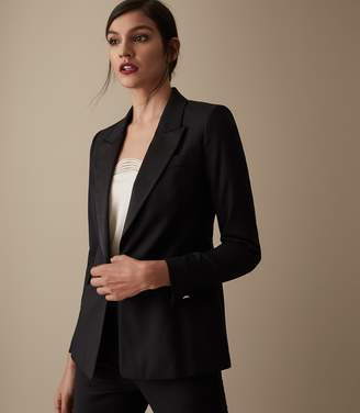 Reiss Naiya Jacket - Satin Lapel Blazer in Black