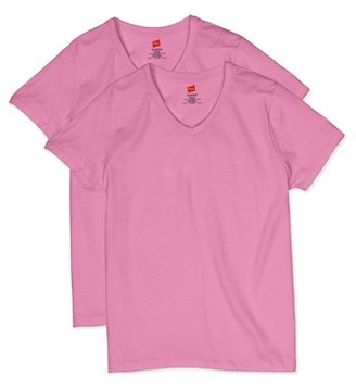 Hanes Women's ComfortSoft Short Sleeve V-neck Tee (2-pack)