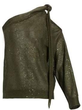 Brunello Cucinelli One-Shoulder Linen& Silk Top