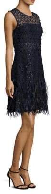 Elie Tahari Anabelle Feather-Trimmed A-Line Dress