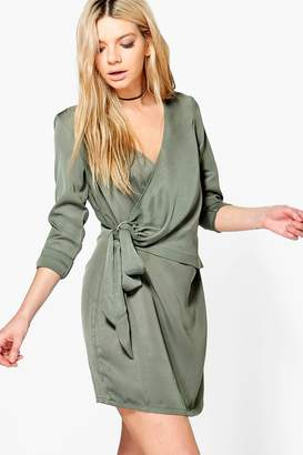 boohoo Hollie O-Ring Wrap Front Shirt Dress