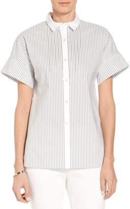St. John Striped Button Down Collar Shirt