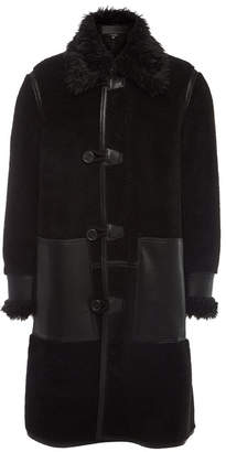 Stella McCartney Lenny Coat with Faux Fur and Faux Leather