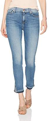 7 For All Mankind Women's The Hw Ankle Skinny with Destroy and Raw Hem
