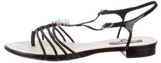 Chanel Pearl-Embellished T-Strap Sandals