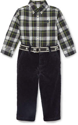 Ralph Lauren Plaid Poplin Collar Shirt w/ Corduroy Pants & D-Ring Belt, Size 6-24 Months