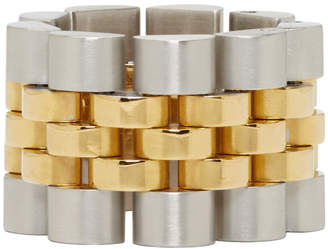 Alexander Wang Gold and Silver Watch Band Ring