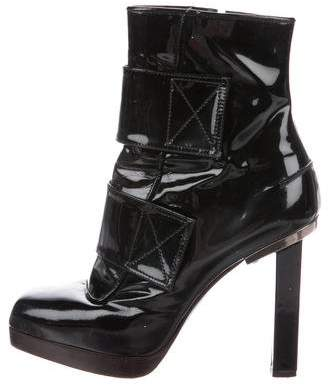 Lanvin Patent Leather Square-Toe Ankle Boots