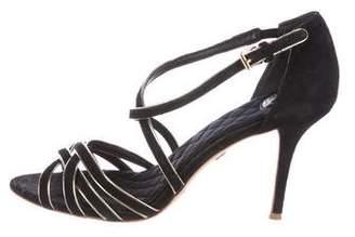 Tory Burch Metallic-Trimmed Suede Sandals