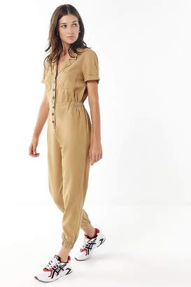 Urban Outfitters Lucy Collared Button-Front Jumpsuit