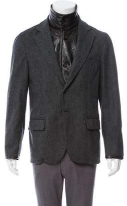 Prada Leather-Trimmed Herringbone Jacket