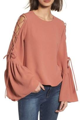 WAYF Laced Cold Shoulder Bow Sleeve Top