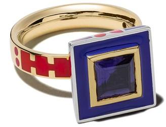 Alice Cicolini 14kt yellow gold Memphis square stone ring