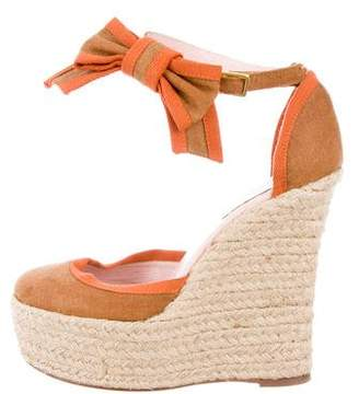 RED Valentino Canvas Round-Toe Wedges