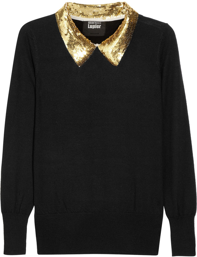 Markus Lupfer Sequin-collared fine-knit wool sweater