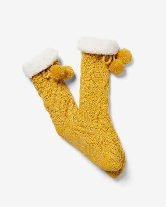 Express Cable Knit Pom Slipper Socks