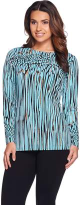 Bob Mackie Bob Mackie's Long Sleeve Bateau Neck Printed Knit Top