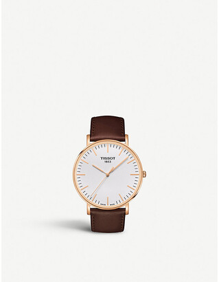 Tissot T109.610.36.031.00rose gold-plated stainless steel and leather watch